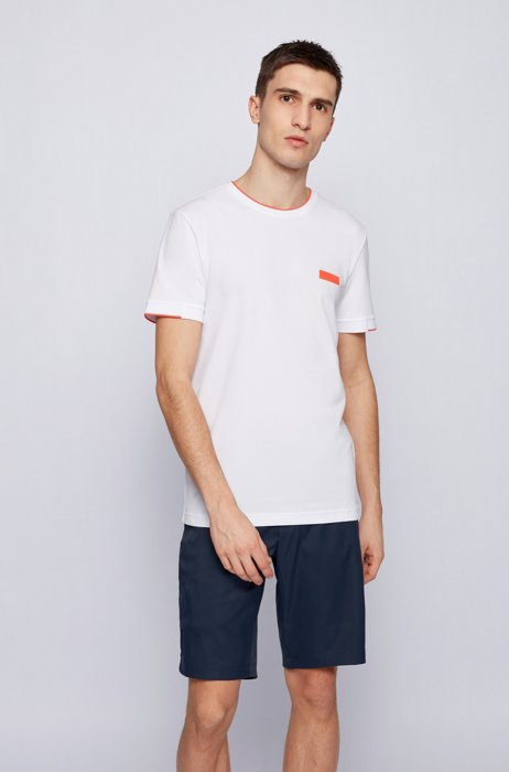 Slim-fit T-shirt met logopatch van silicone, Wit