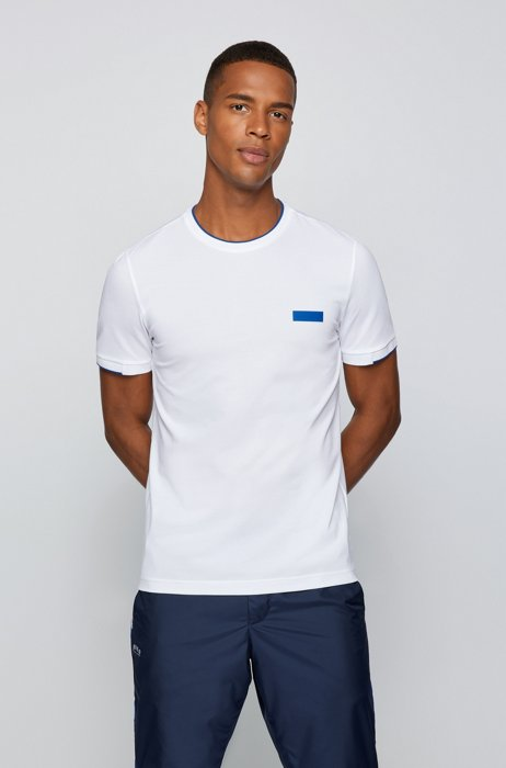 Slim-fit T-shirt with silicone logo badge, White