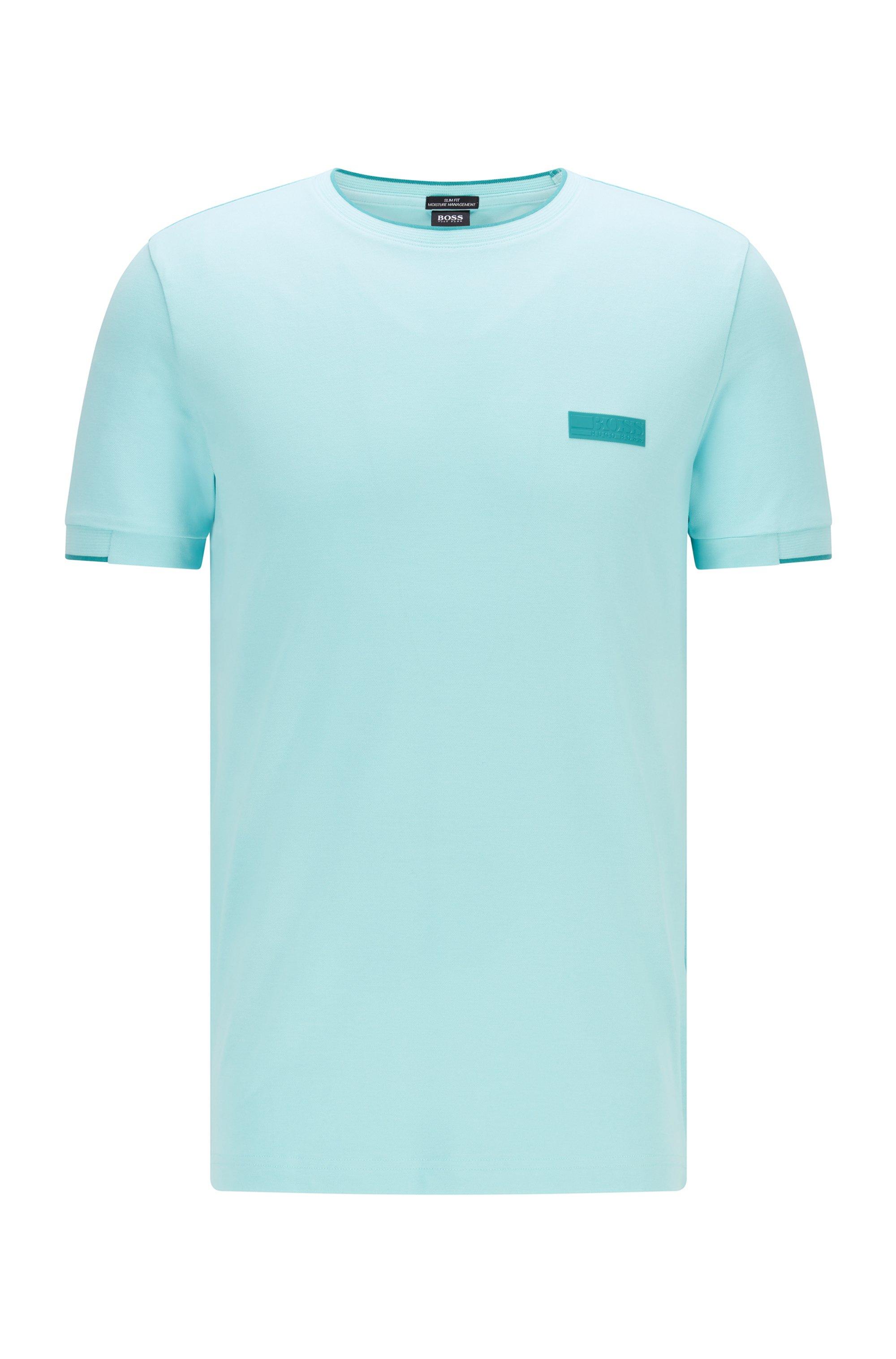T-shirt Slim Fit avec badge logo en silicone, bleu clair