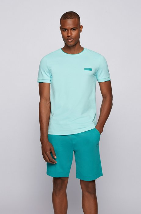 Slim-fit T-shirt with silicone logo badge, Light Blue
