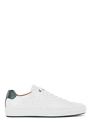 意大利制造印花皮革低帮运动鞋,  100_White