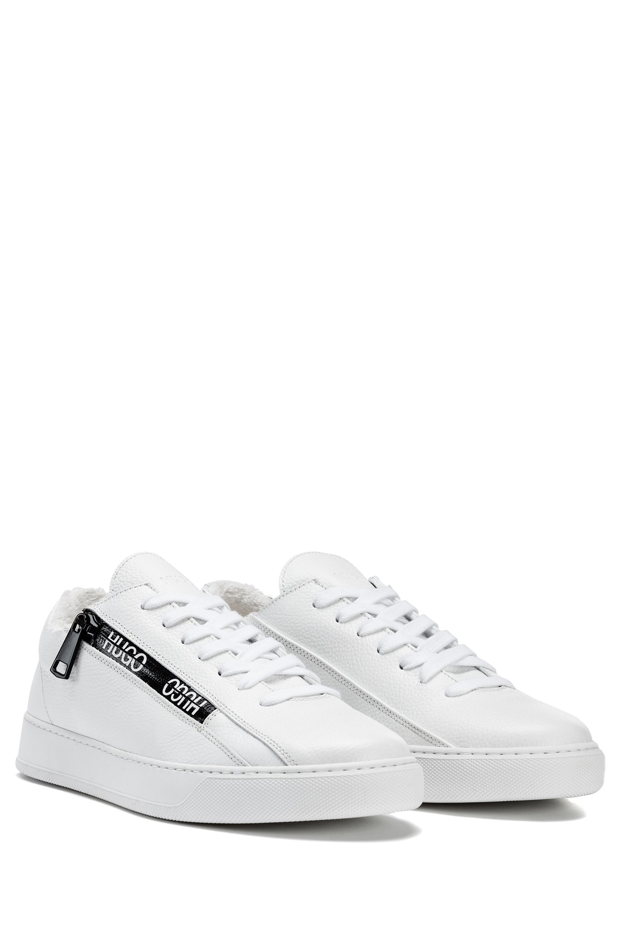 Italian-made trainers in leather with logo-tape zip