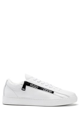 Italian-made trainers in leather with logo-tape zip, White