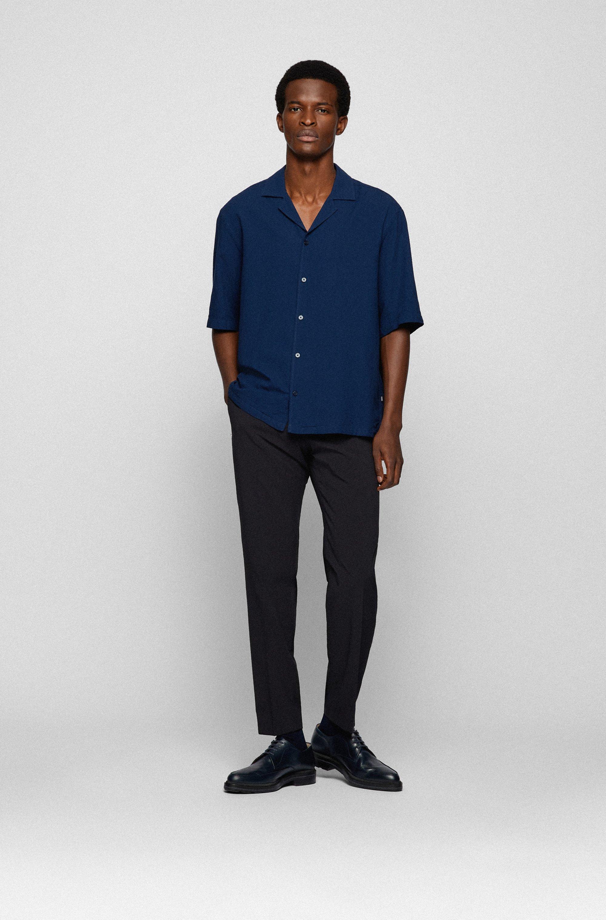 Camicia regular fit in seersucker di misto cotone e modal