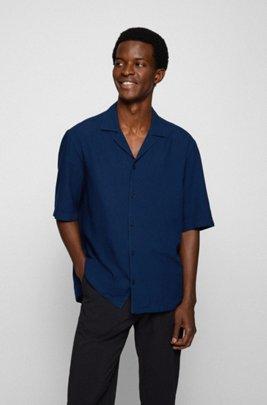 Camicia regular fit in seersucker di misto cotone e modal, Blu scuro