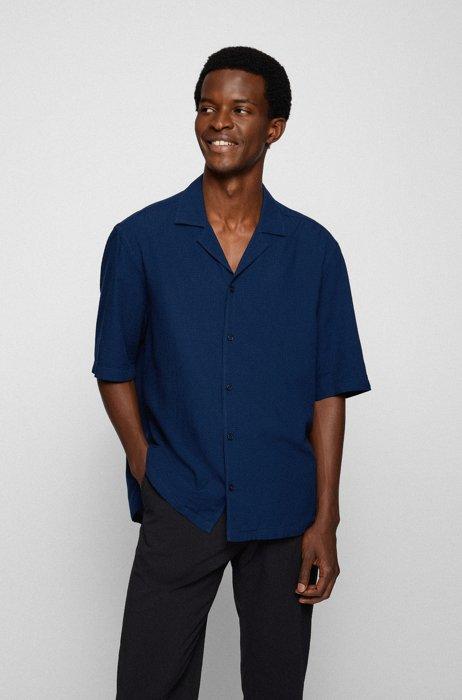 Regular-fit shirt in cotton-modal seersucker, Dark Blue