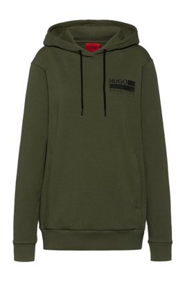 Relaxed-fit cotton-blend hoodie with brand-manifesto logo, Khaki