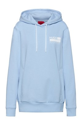 Relaxed-fit cotton-blend hoodie with brand-manifesto logo, Light Blue