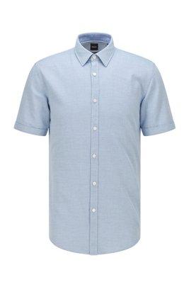 Chemise Slim Fit à manches courtes en coton microstructuré, bleu clair