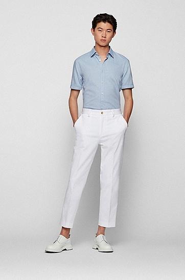 微结构棉质修身短袖衬衫,  428_Medium Blue