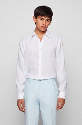Slim-fit shirt in stretch linen with printed trims, White