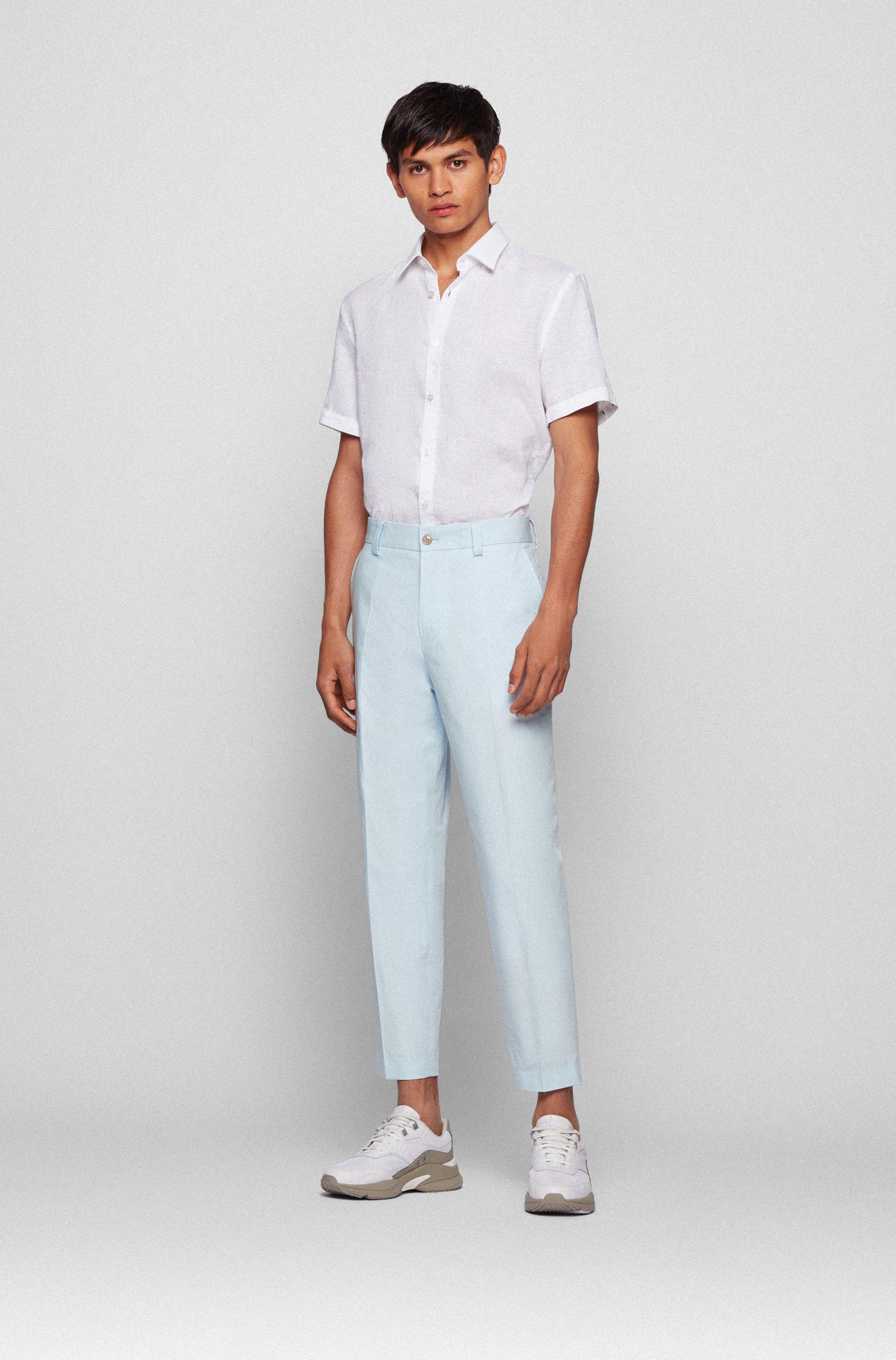 Chemise Slim Fit à manches courtes en lin stretch