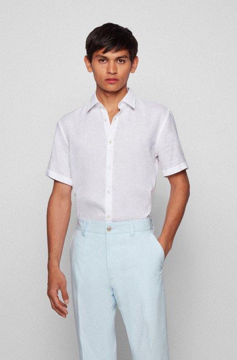 Short-sleeved slim-fit shirt in stretch linen, White