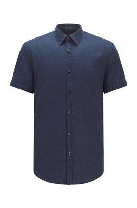 Chemise Slim Fit à manches courtes en lin stretch, Bleu foncé
