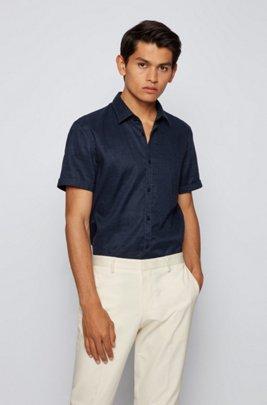 Short-sleeved slim-fit shirt in stretch linen, Dark Blue