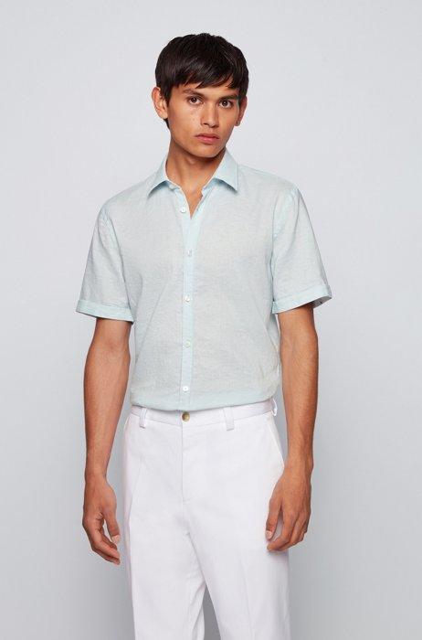 Short-sleeved slim-fit shirt in stretch linen, Light Blue