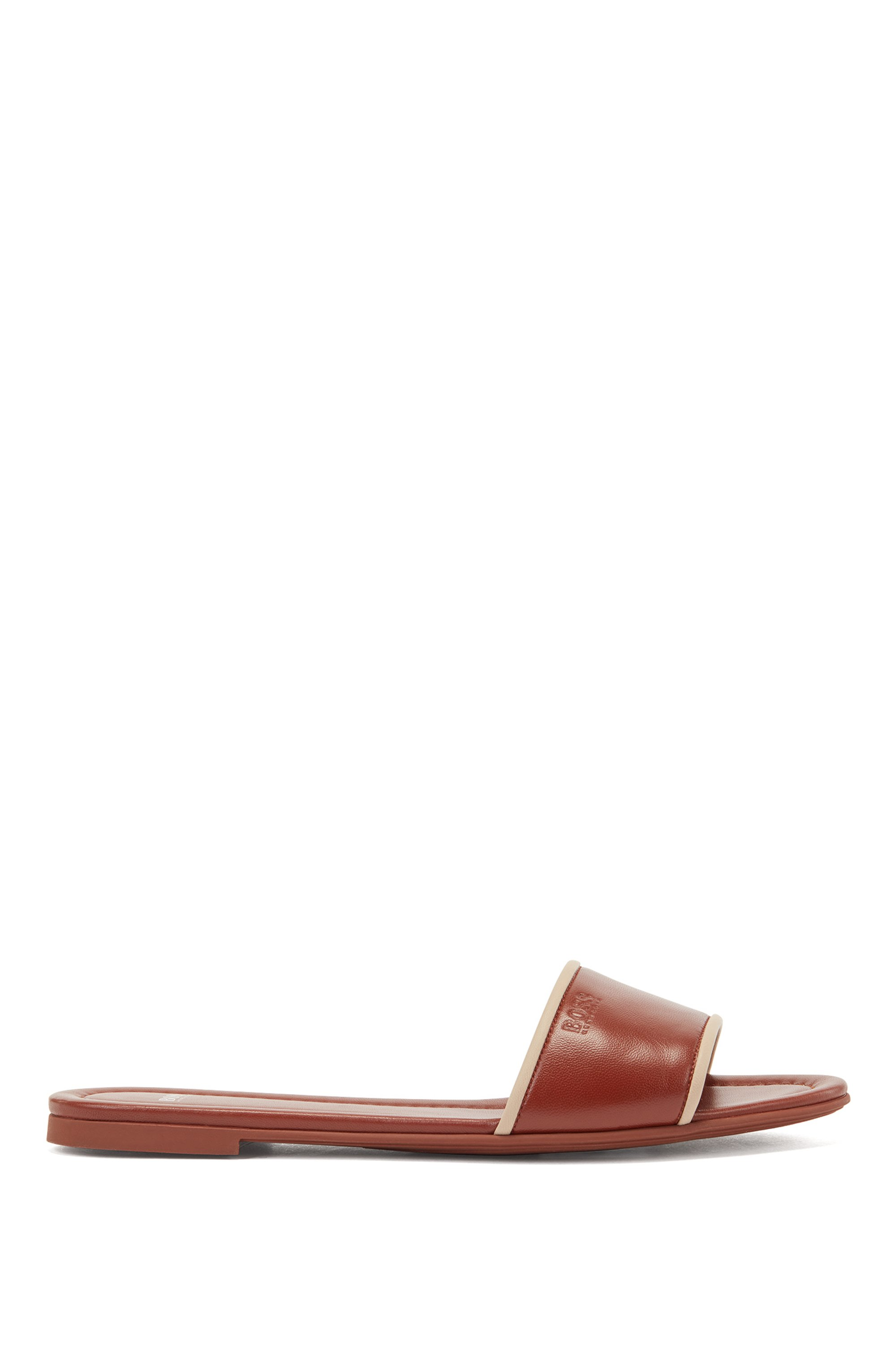 Nappa-leather slides with debossed logo, Brown