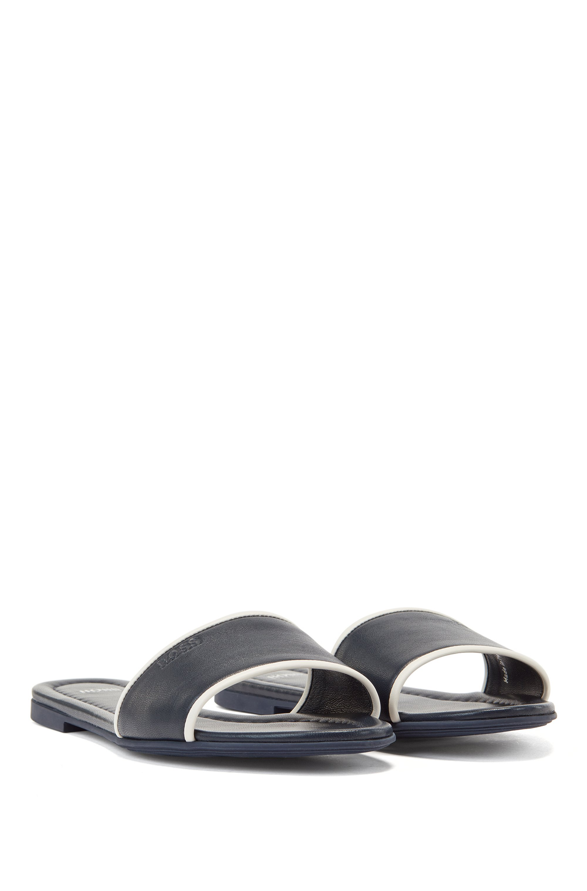 Nappa-leather slides with debossed logo