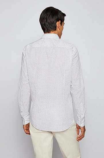 印花长绒棉修身衬衫,  402_Dark Blue
