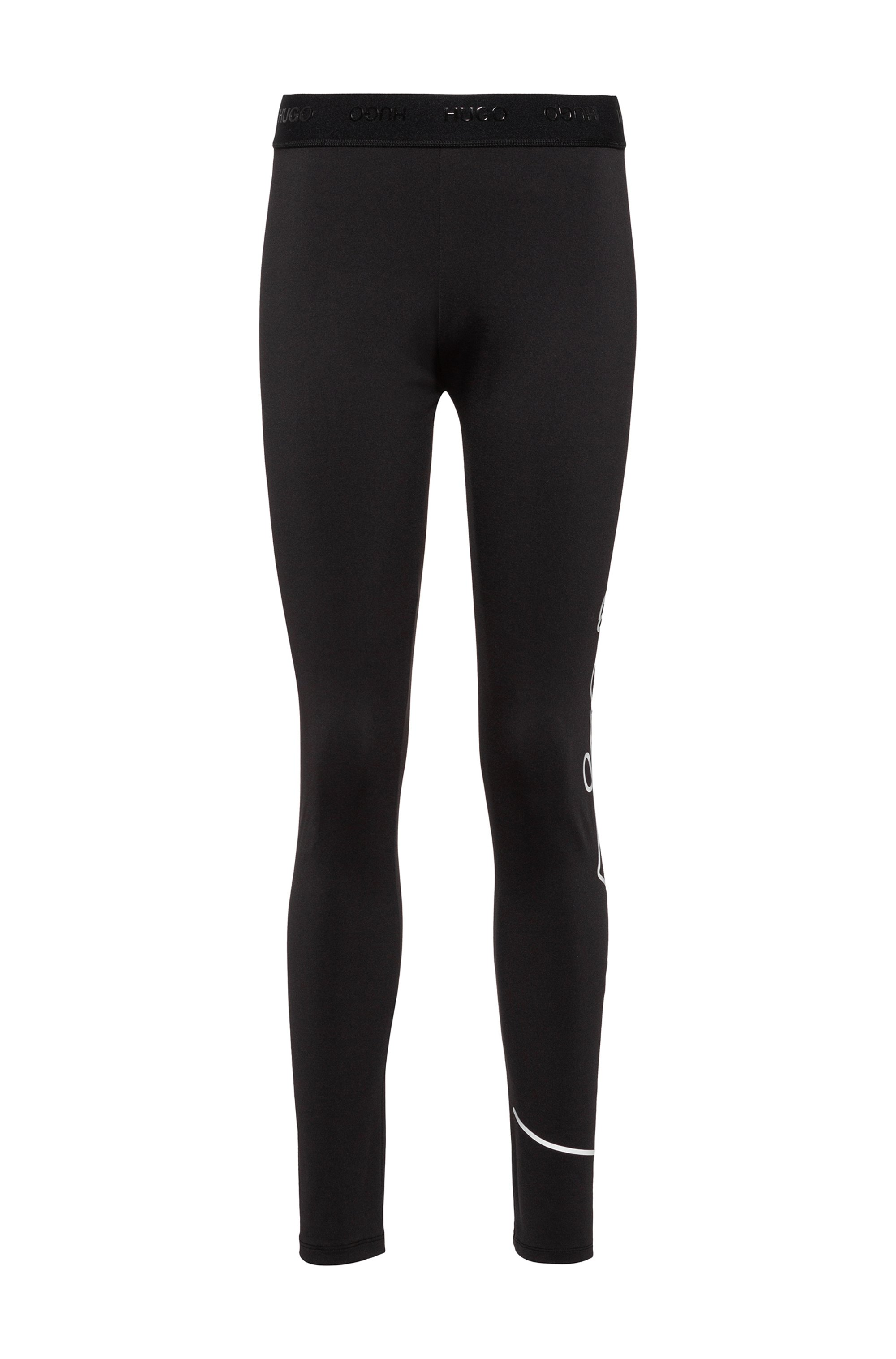 Skinny-fit leggings with hand-written logo print, Black