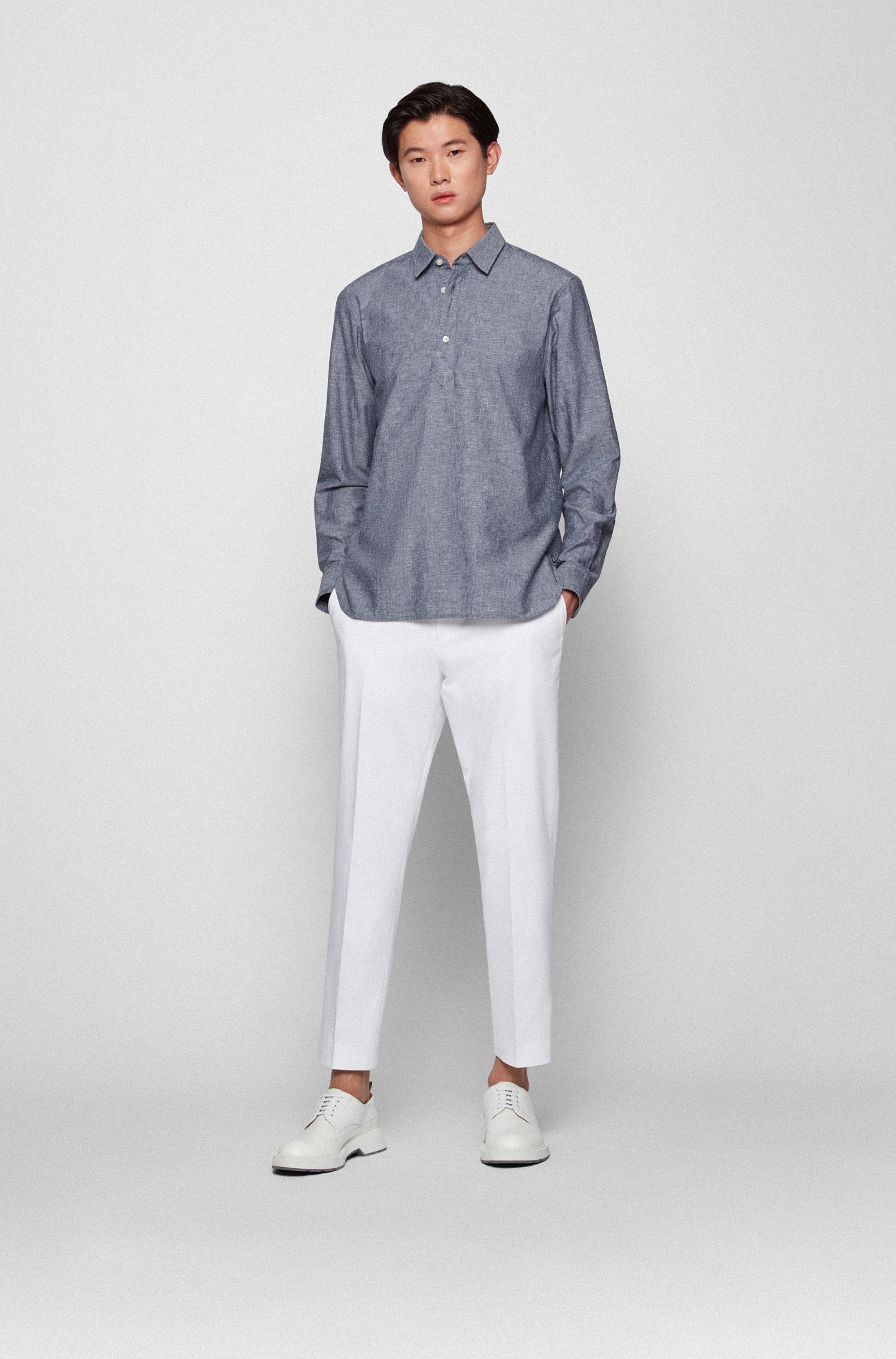 Polo-style regular-fit shirt in cotton and linen