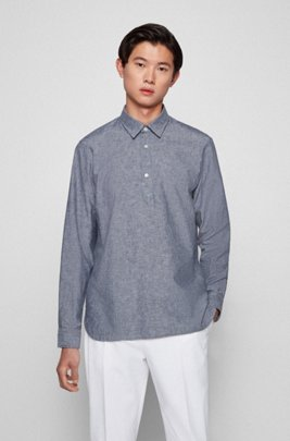 Polo-style regular-fit shirt in cotton and linen, Dark Blue