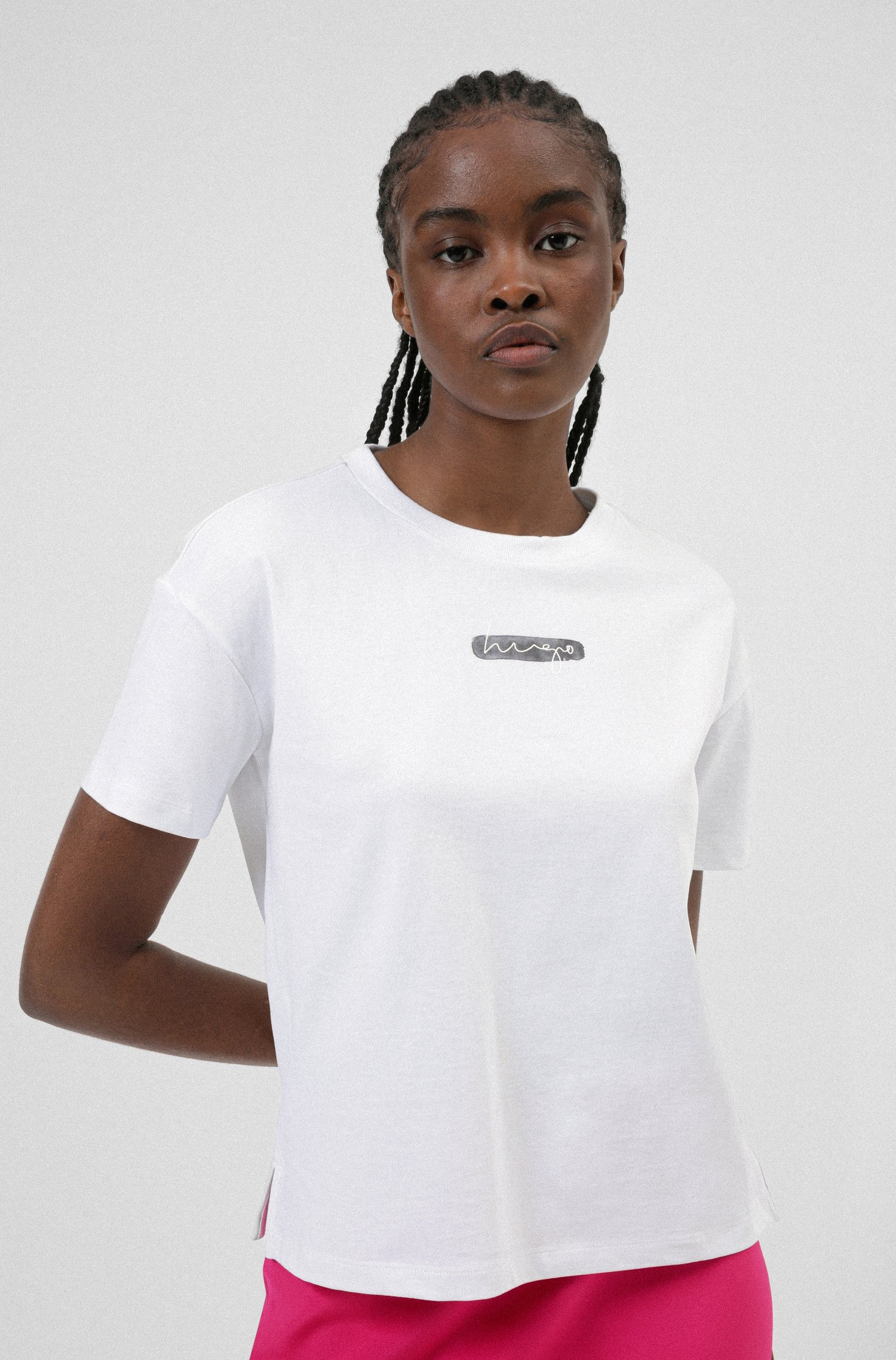 Relaxed-fit T-shirt in organic cotton with watercolour logo, White