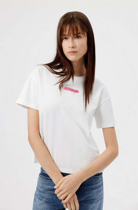 Relaxed-fit T-shirt in organic cotton with watercolor logo, Patterned