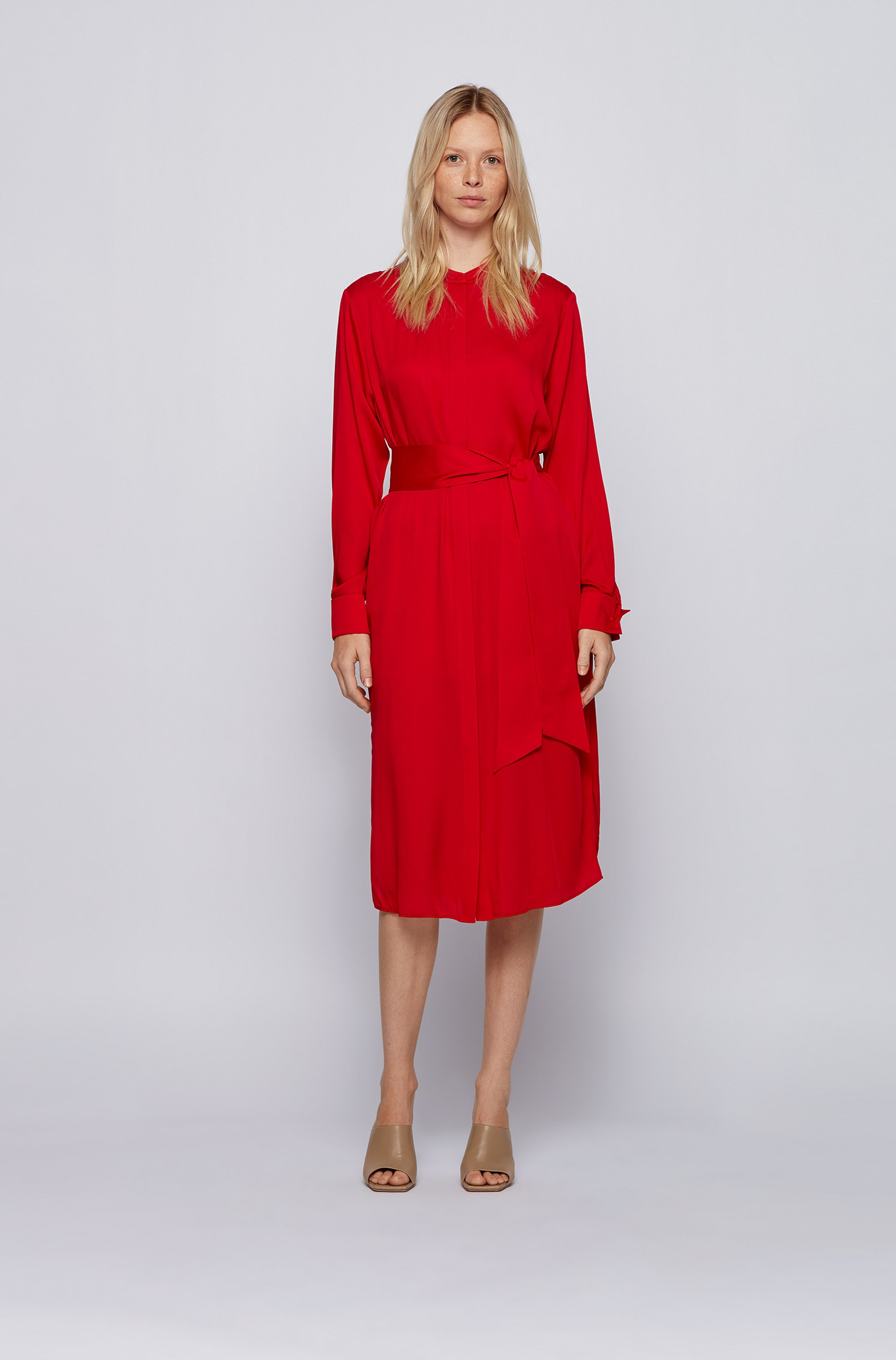 Crepe-georgette shirt dress with tie belt