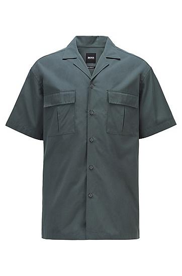 古巴领棉府绸休闲衬衫,  301_Dark Green