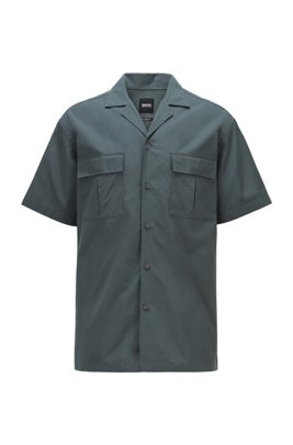 Camicia relaxed fit in popeline di cotone con colletto aperto, Verde scuro