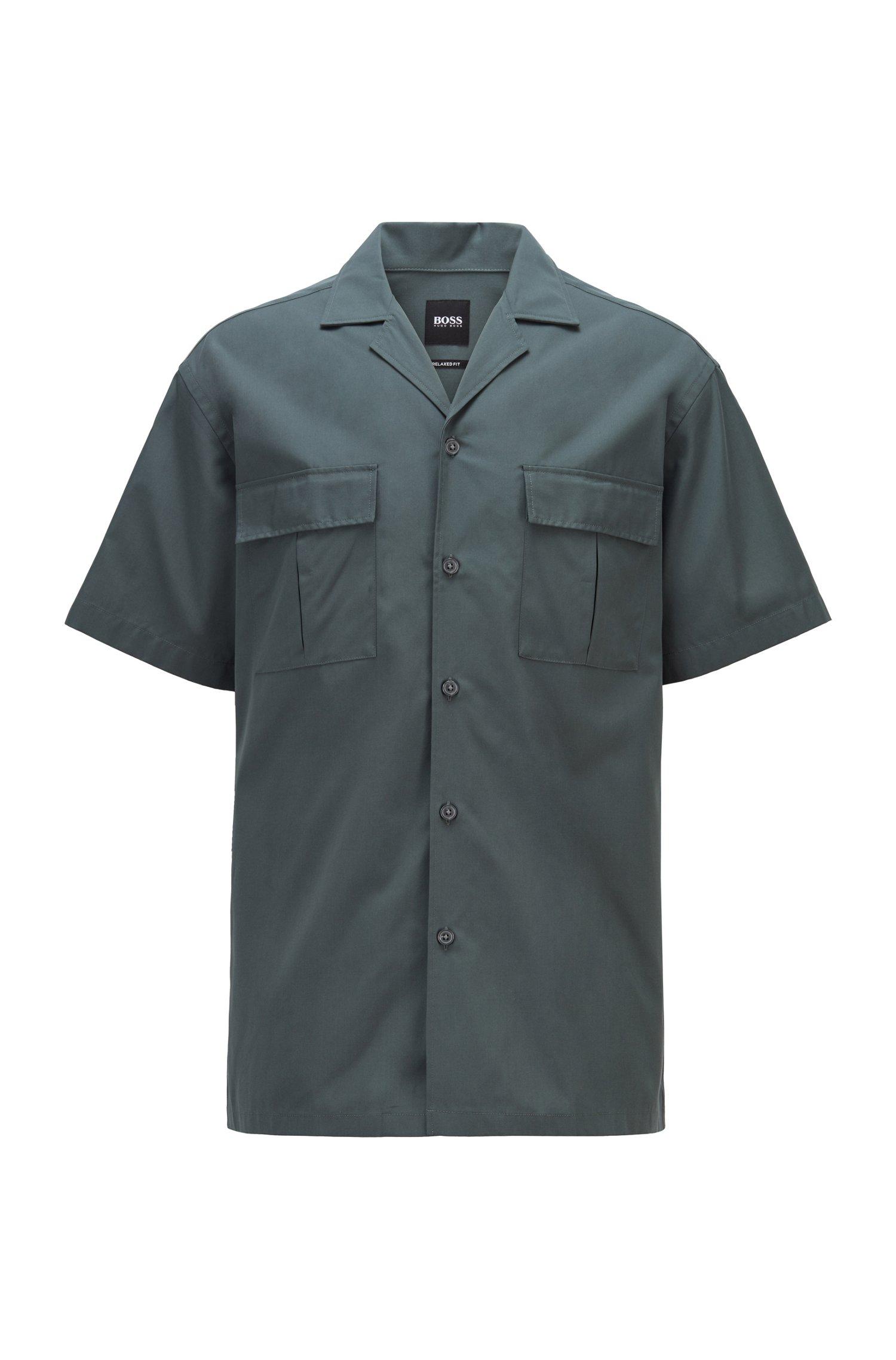 リラックスフィットシャツ コットンポプリン キャンプカラー, ダークグリーン