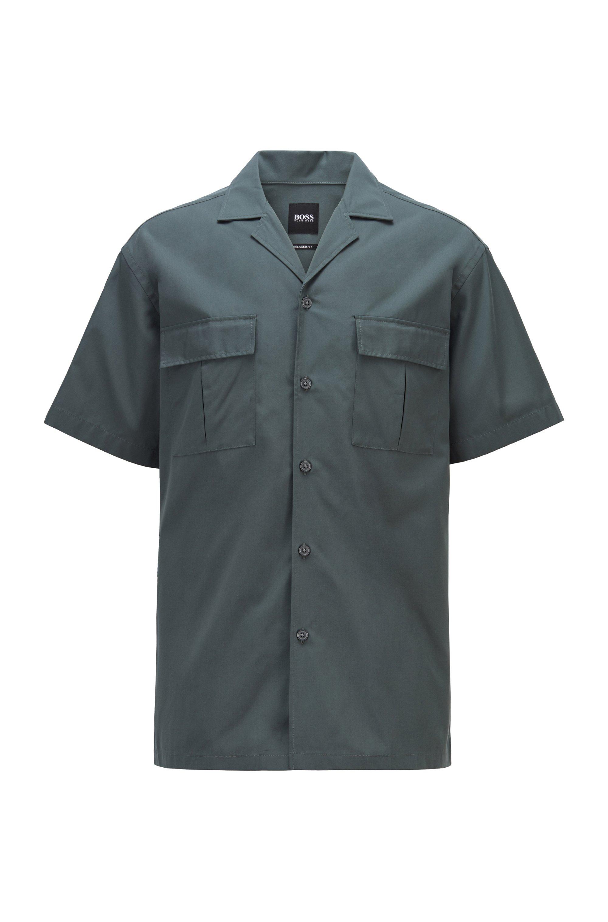 Camisa relaxed fit de popelín de algodón con cuello cubano, Verde oscuro