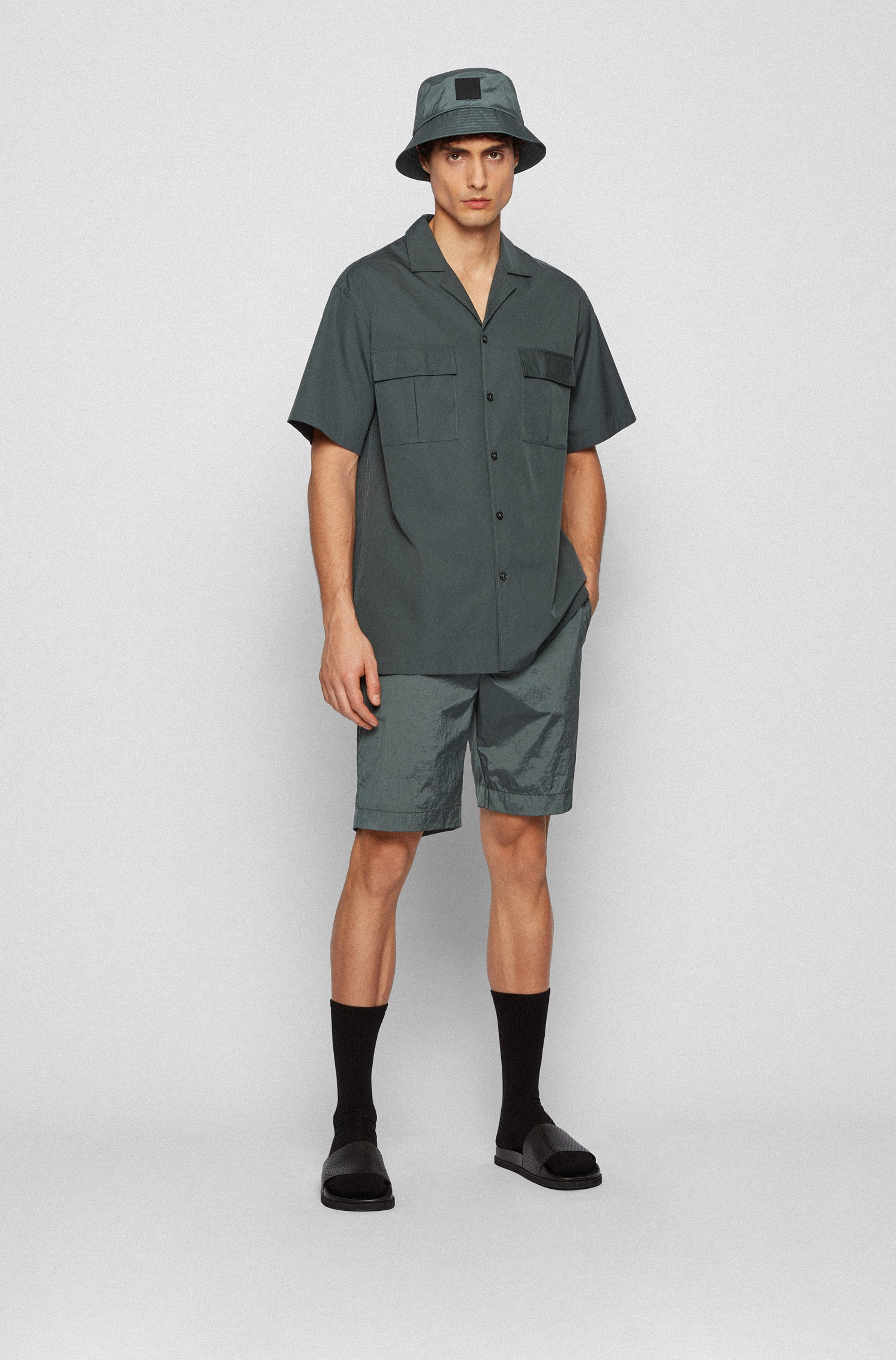Relaxed-fit shirt in cotton poplin with camp collar