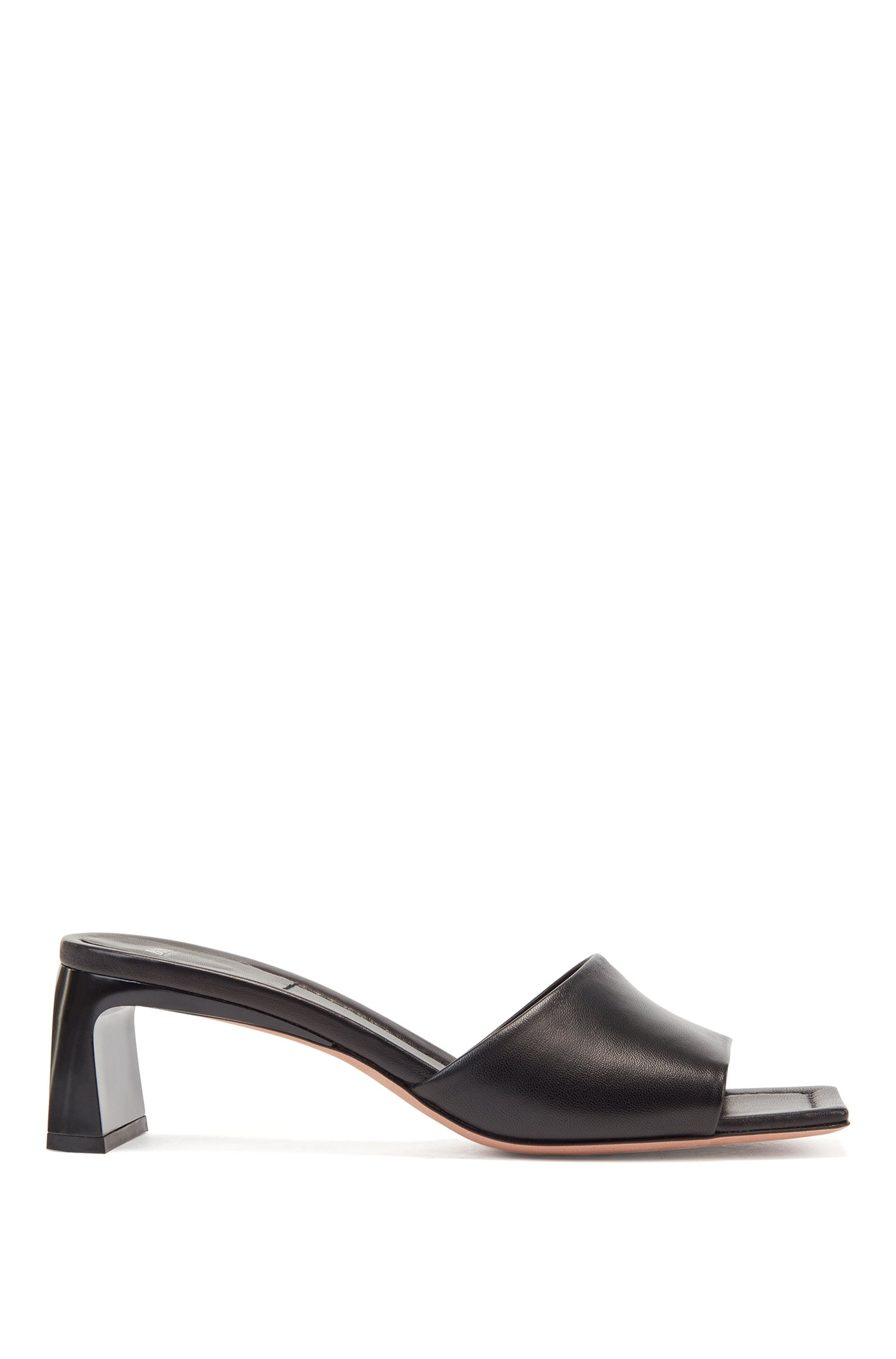 Italian-made mules in nappa leather with square toe, Black