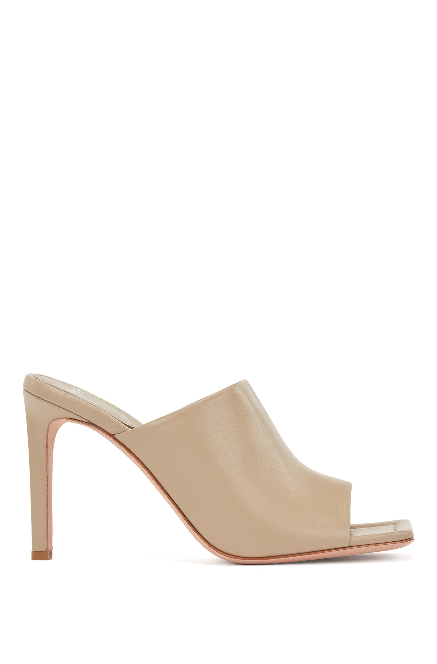 High-heeled mules in Italian leather, Beige