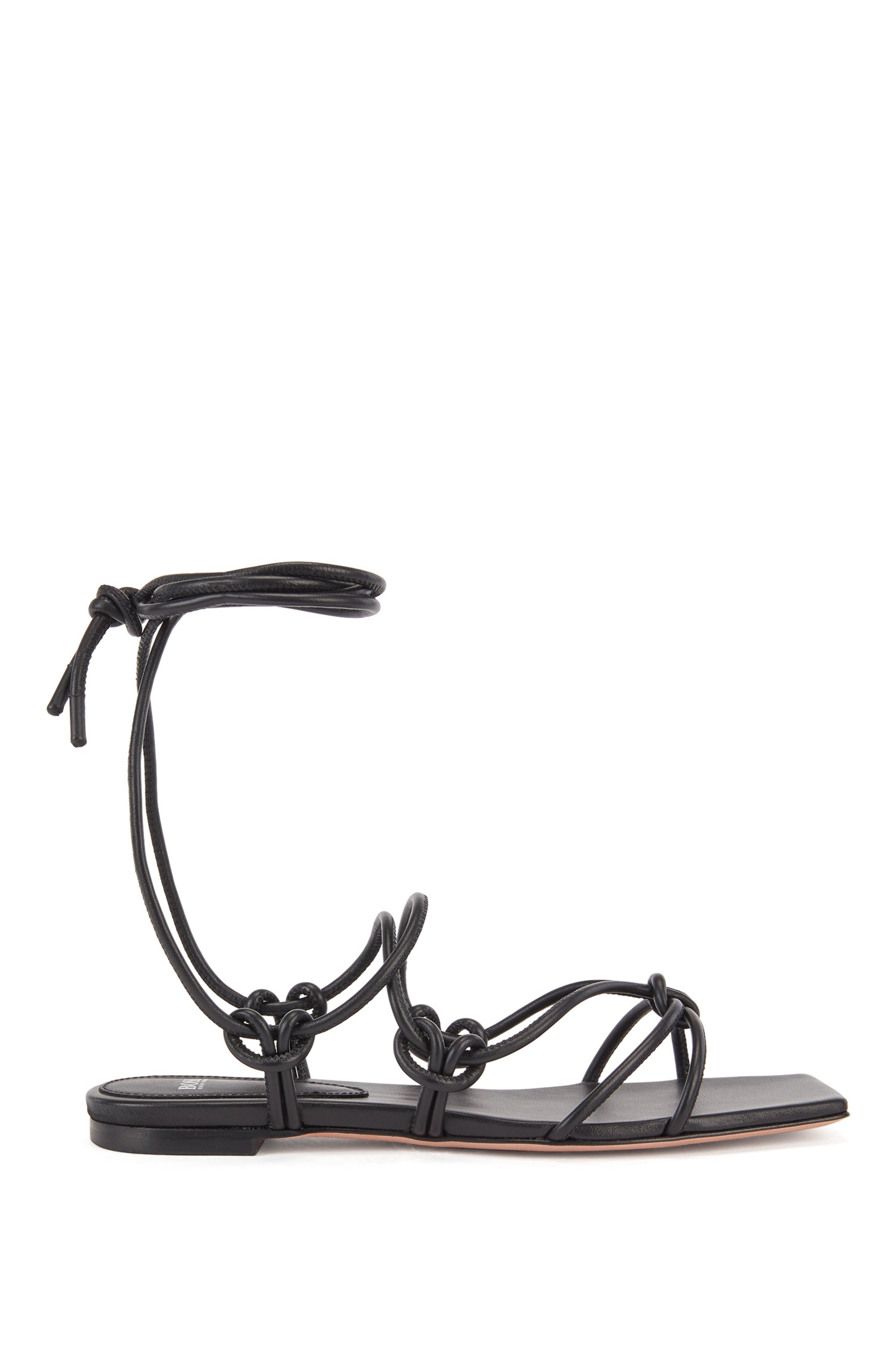 Flat sandals in nappa leather with tie-up straps, Black