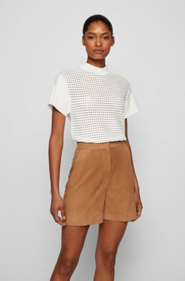 Mock-neck short-sleeved sweater with openwork structure, White