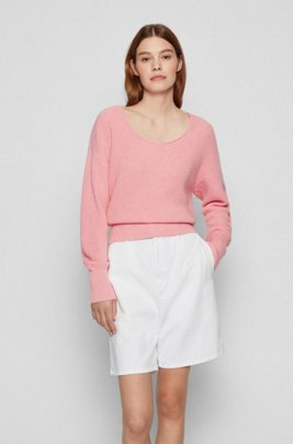 Scoop-neck sweater in cotton with silk and cashmere, Pink