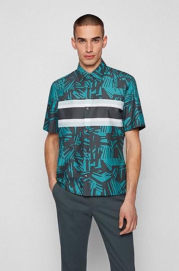 热带风情印花常规版型意大利棉质衬衫,  Dark Green