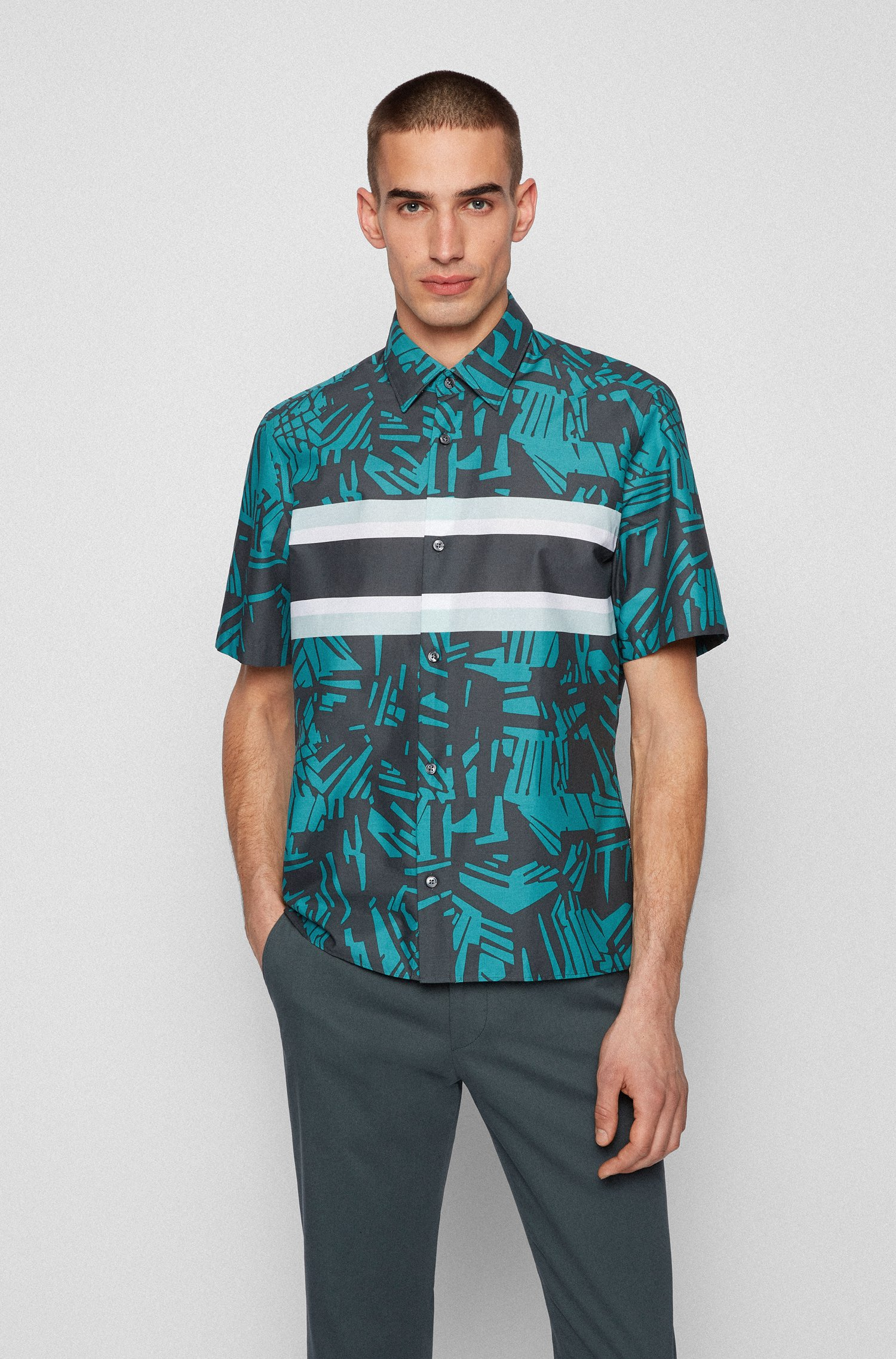 Regular-fit shirt in Italian cotton with tropical print, Green Patterned