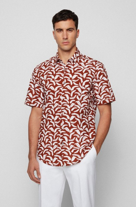 Regular-fit shirt in leaf-print cotton and linen, Brown Patterned