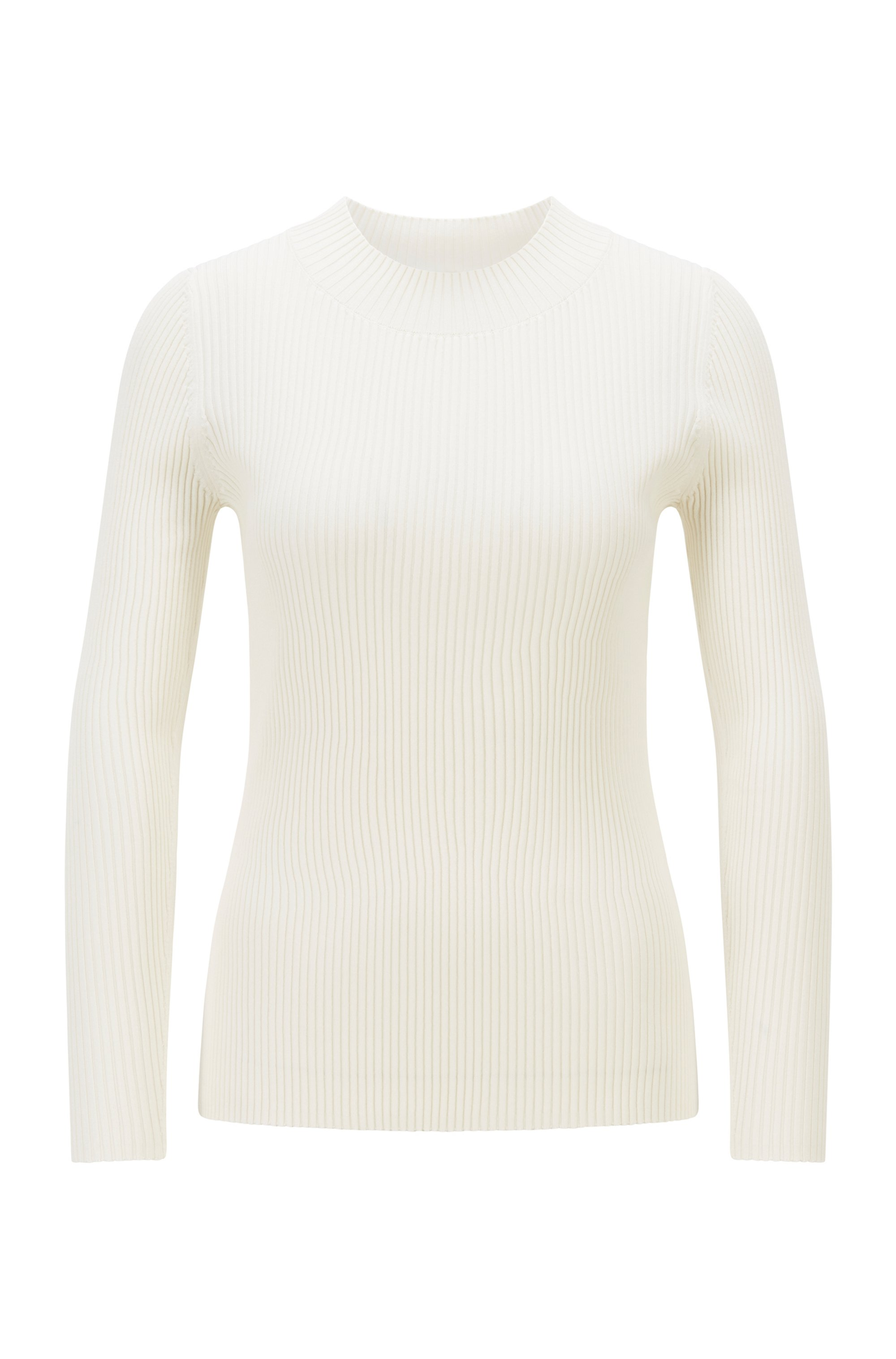 Ribbed slim-fit sweater with cutout back detail, White