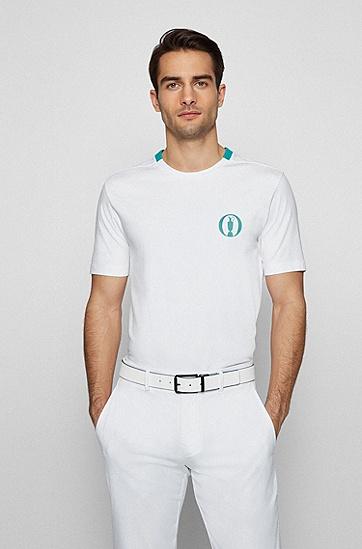 弹力棉平纹单面针织布系列主题 T 恤,  100_White