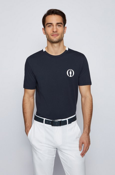 Collection-themed T-shirt in stretch-cotton jersey, Dark Blue