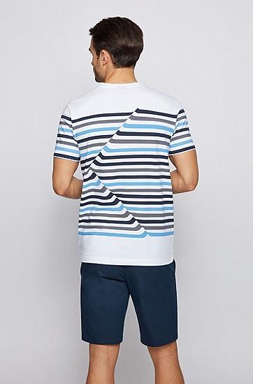 抽象条纹弹力棉圆领 T 恤,  白色