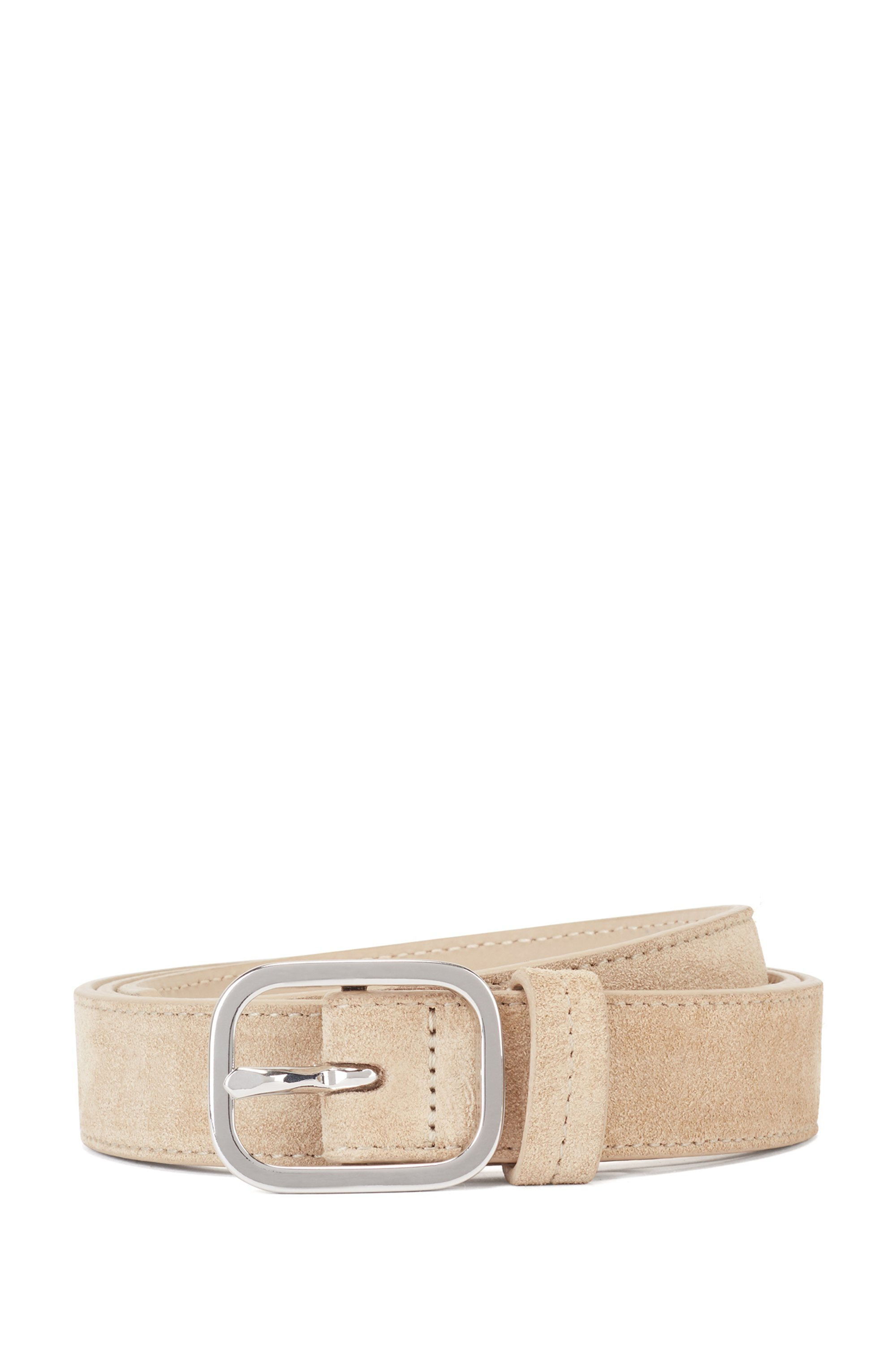 Italian-suede belt with rounded pin buckle, Beige