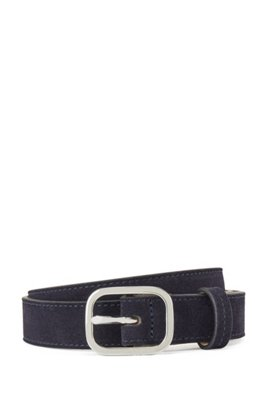 Italian-suede belt with rounded pin buckle, Dark Blue