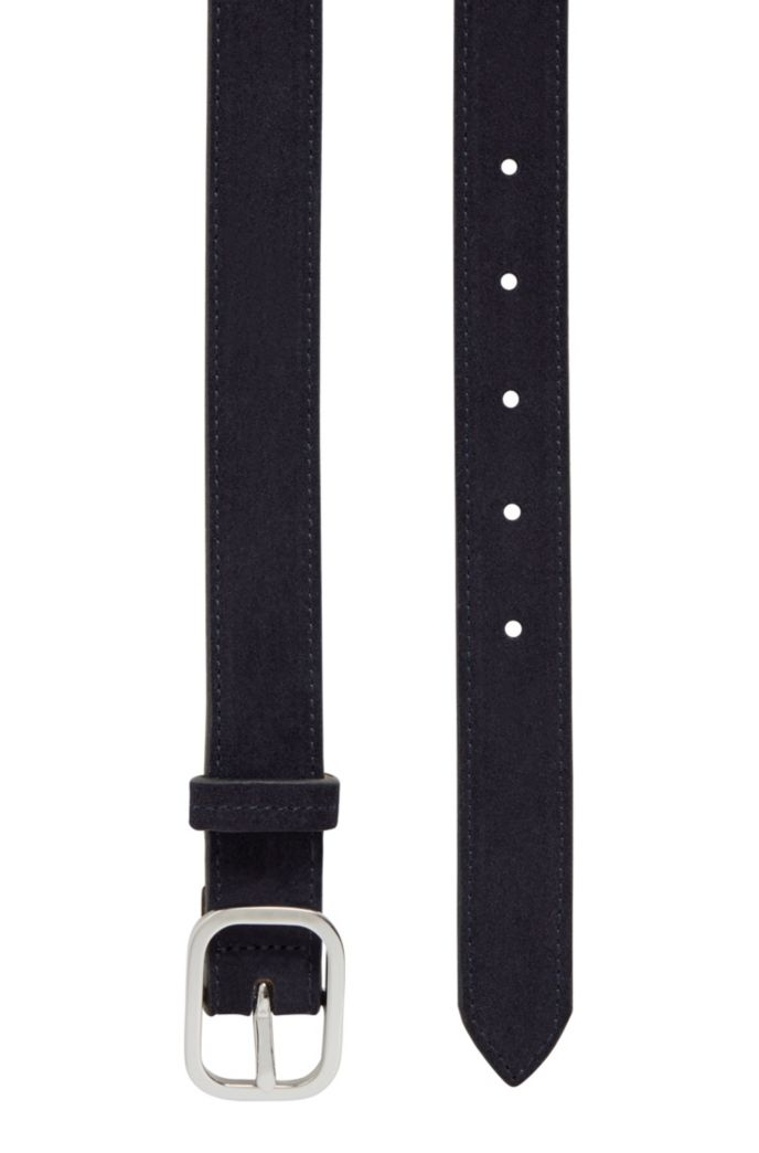 Italian-suede belt with rounded pin buckle