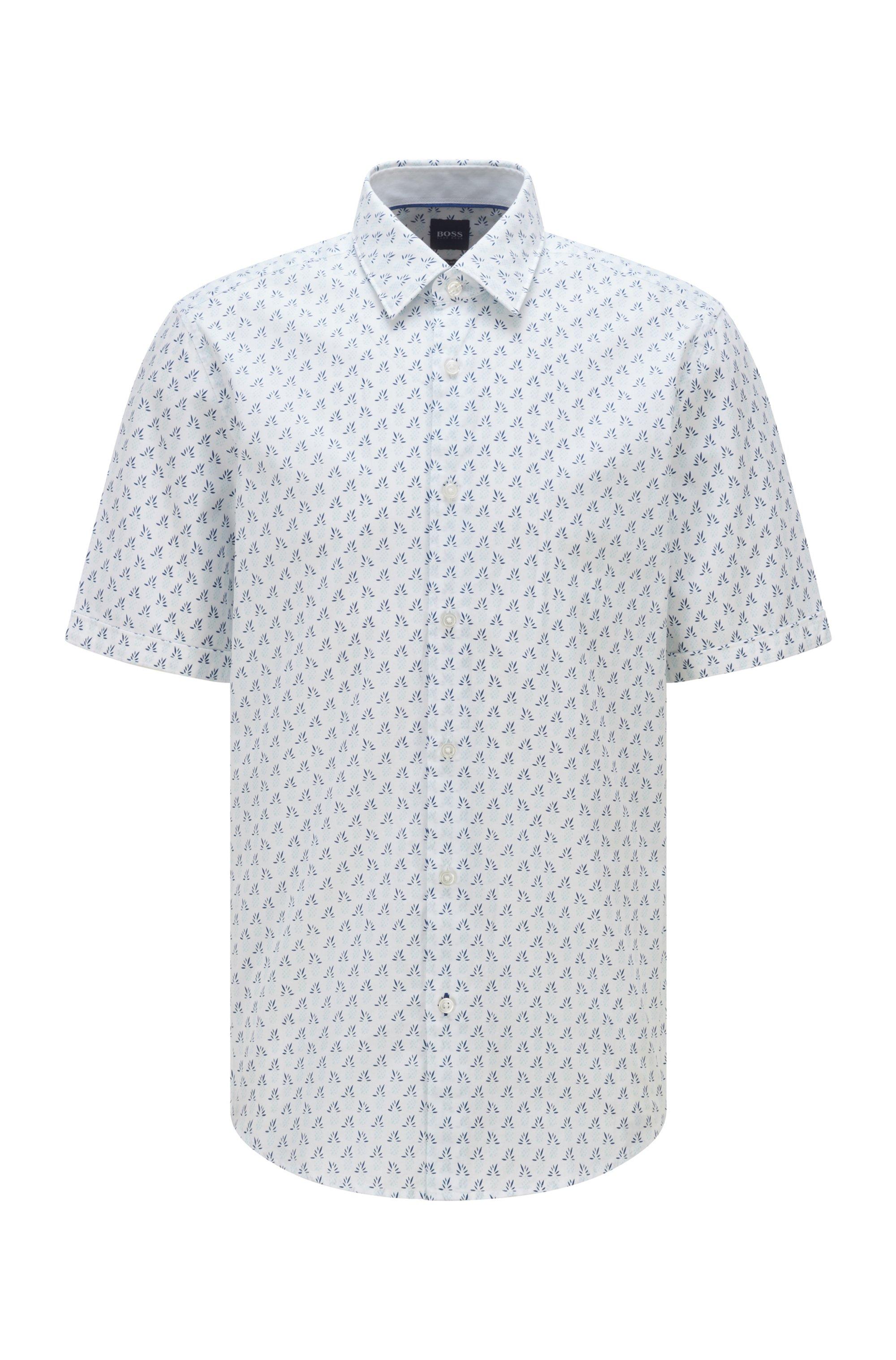 Camicia regular fit in voile di cotone stampato, Bianco a motivi